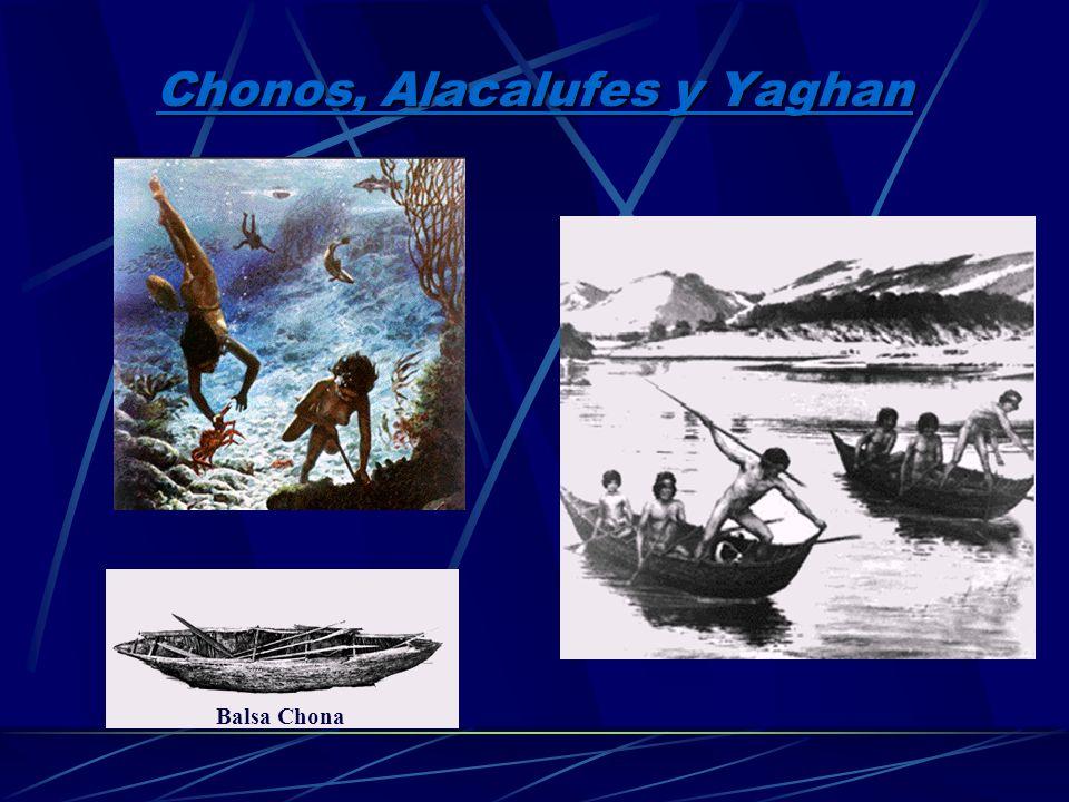 3.C honos, Alacalufes y Yaghanes Eran bandas canoeras dedicadas a la pesca Eran llamados nómades del mar, pues sus canoas eran su hogar Fabricaban her