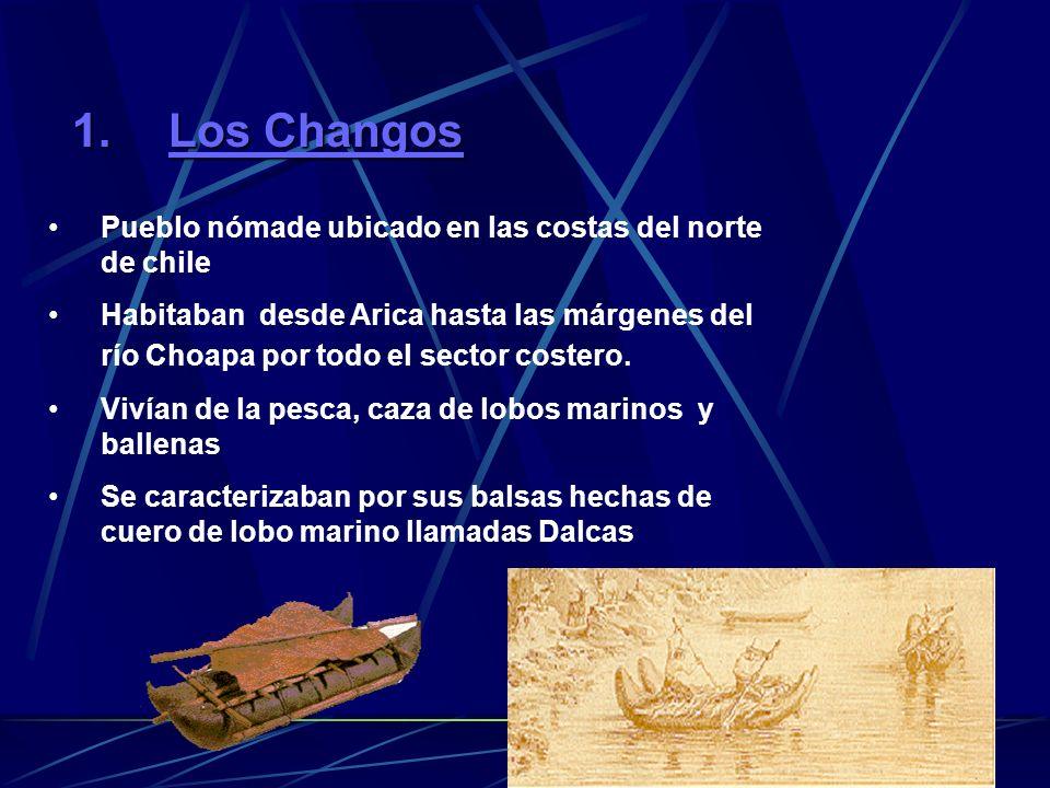 1.Los Changos Pueblo nómade ubicado en las costas del norte de chile Habitaban desde Arica hasta las márgenes del río Choapa por todo el sector costero.