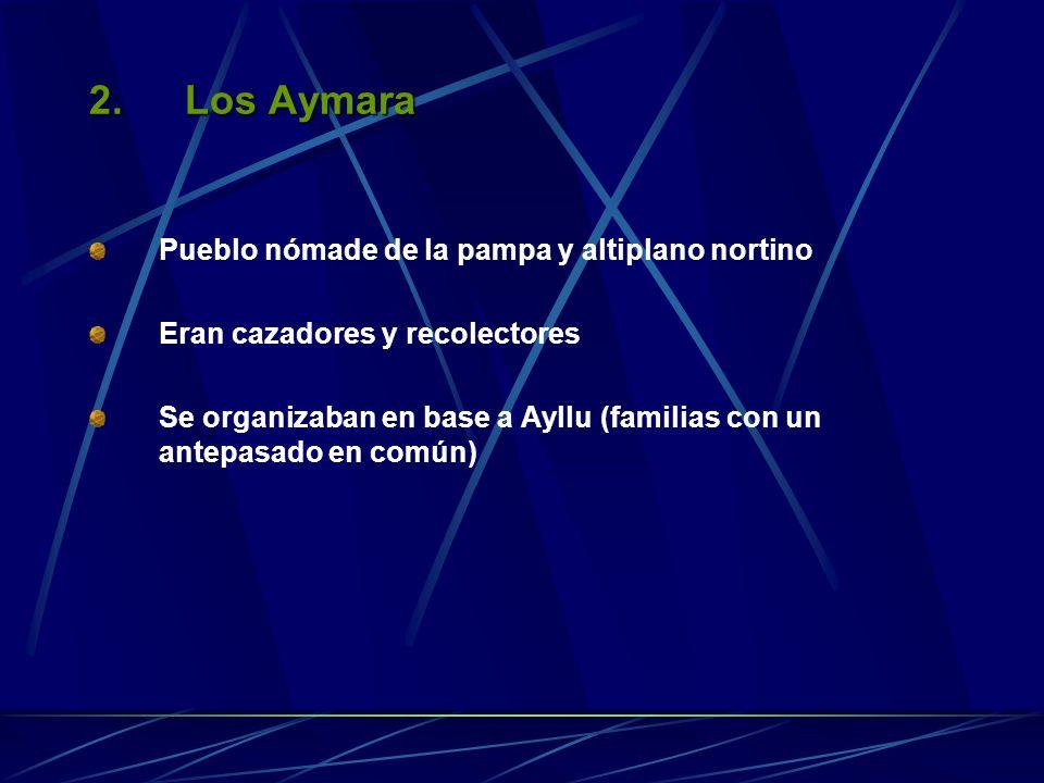 2.Los Aymara Pueblo nómade de la pampa y altiplano nortino Eran cazadores y recolectores Se organizaban en base a Ayllu (familias con un antepasado en común)