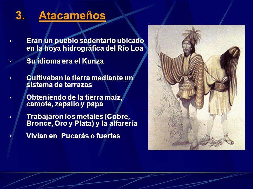 2.Los Aymara Pueblo nómade de la pampa y altiplano nortino Eran cazadores y recolectores Se organizaban en base a Ayllu (familias con un antepasado en