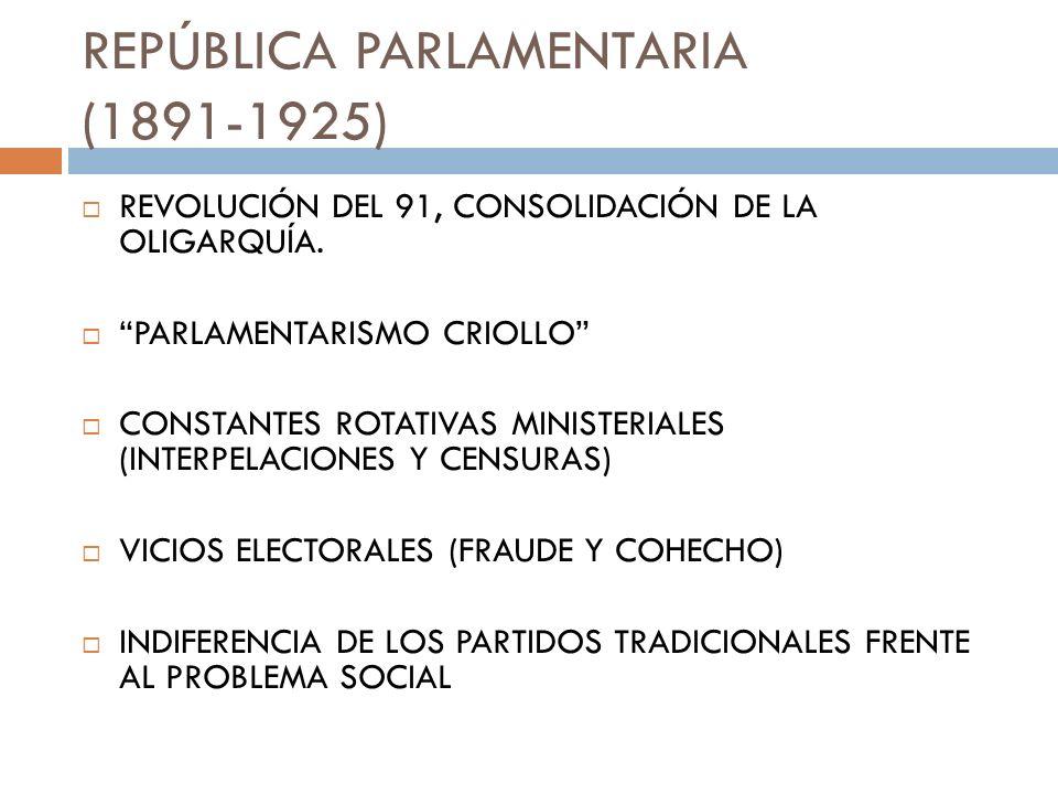 CARACTERÍSTICAS… AUGE Y CRISIS DEL SALITRE CRECIENTE INFLACIÓN CUESTIÓN SOCIAL BELLE EPOQUE V/S MISERIA POPULAR OLA DE HUELGAS Y ESTALLIDOS SOCIALES SURGIMIENTO DE SECTORES MEDIOS (PRINCIPIOS SIGLO XX)