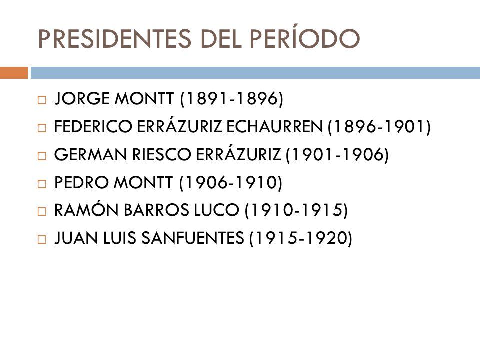 PRESIDENTES DEL PERÍODO JORGE MONTT (1891-1896) FEDERICO ERRÁZURIZ ECHAURREN (1896-1901) GERMAN RIESCO ERRÁZURIZ (1901-1906) PEDRO MONTT (1906-1910) R