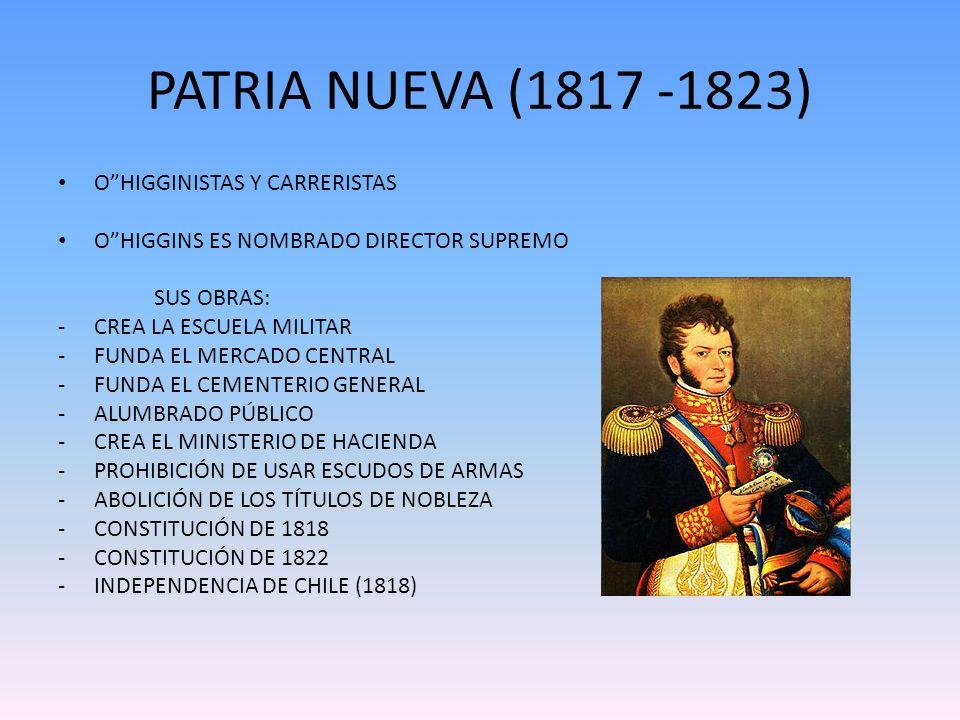 PATRIA NUEVA (1817 -1823) OHIGGINISTAS Y CARRERISTAS OHIGGINS ES NOMBRADO DIRECTOR SUPREMO SUS OBRAS: -CREA LA ESCUELA MILITAR -FUNDA EL MERCADO CENTR