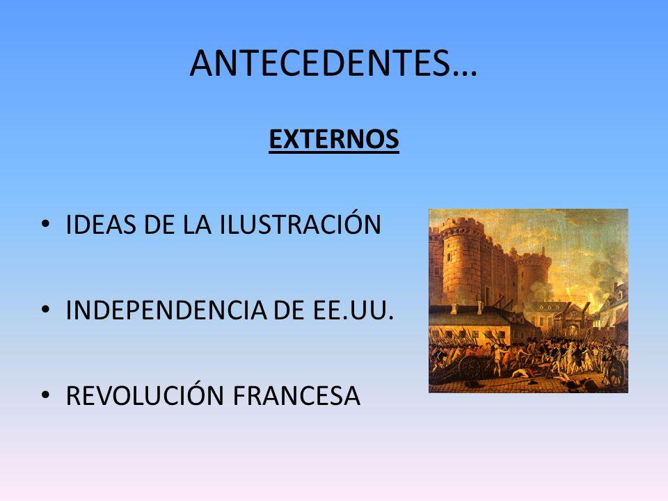 ANTECEDENTES… EXTERNOS IDEAS DE LA ILUSTRACIÓN INDEPENDENCIA DE EE.UU. REVOLUCIÓN FRANCESA
