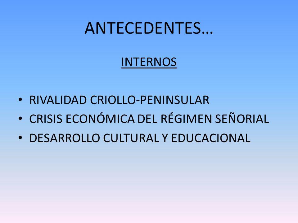 ANTECEDENTES… INTERNOS RIVALIDAD CRIOLLO-PENINSULAR CRISIS ECONÓMICA DEL RÉGIMEN SEÑORIAL DESARROLLO CULTURAL Y EDUCACIONAL