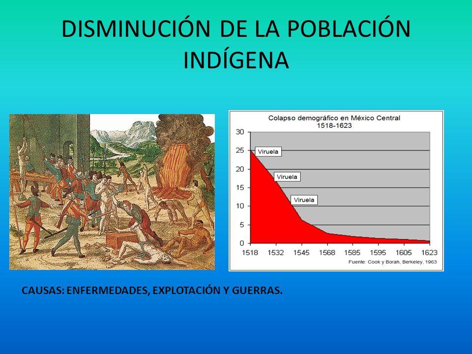 DISMINUCIÓN DE LA POBLACIÓN INDÍGENA CAUSAS: ENFERMEDADES, EXPLOTACIÓN Y GUERRAS.