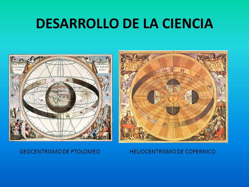 DESARROLLO DE LA CIENCIA GEOCENTRISMO DE PTOLOMEOHELIOCENTRISMO DE COPERNICO
