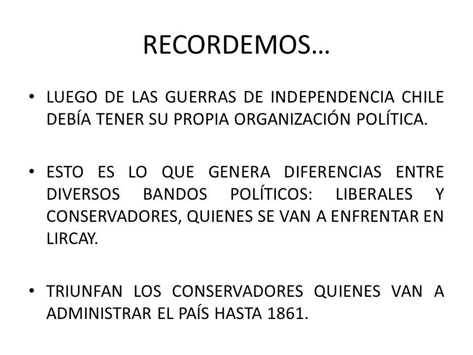 RECORDEMOS… LUEGO DE LAS GUERRAS DE INDEPENDENCIA CHILE DEBÍA TENER SU PROPIA ORGANIZACIÓN POLÍTICA. ESTO ES LO QUE GENERA DIFERENCIAS ENTRE DIVERSOS