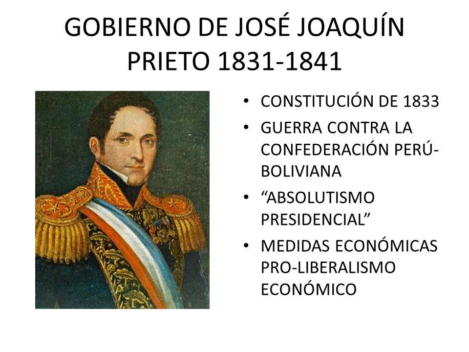 GOBIERNO DE JOSÉ JOAQUÍN PRIETO 1831-1841 CONSTITUCIÓN DE 1833 GUERRA CONTRA LA CONFEDERACIÓN PERÚ- BOLIVIANA ABSOLUTISMO PRESIDENCIAL MEDIDAS ECONÓMI