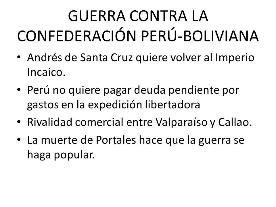 GUERRA CONTRA LA CONFEDERACIÓN PERÚ-BOLIVIANA Andrés de Santa Cruz quiere volver al Imperio Incaico. Perú no quiere pagar deuda pendiente por gastos e