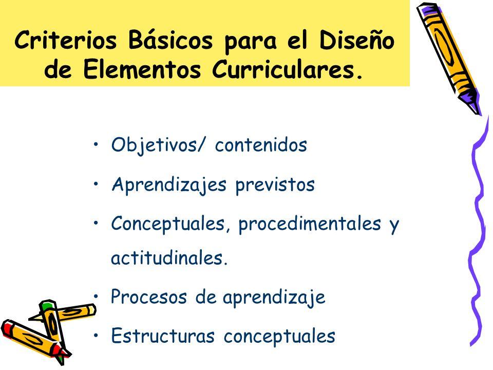 Criterios Básicos para el Diseño de Elementos Curriculares. Objetivos/ contenidos Aprendizajes previstos Conceptuales, procedimentales y actitudinales