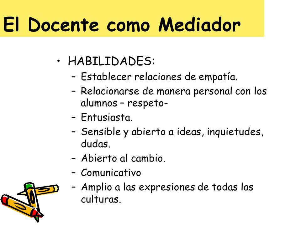 El Docente como Mediador HABILIDADES: –Establecer relaciones de empatía. –Relacionarse de manera personal con los alumnos – respeto- –Entusiasta. –Sen