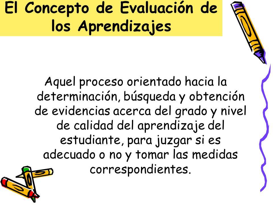 El Concepto de Evaluación de los Aprendizajes Aquel proceso orientado hacia la determinación, búsqueda y obtención de evidencias acerca del grado y ni