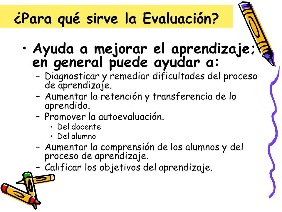 ¿Para qué sirve la Evaluación? Ayuda a mejorar el aprendizaje; en general puede ayudar a: –Diagnosticar y remediar dificultades del proceso de aprendi