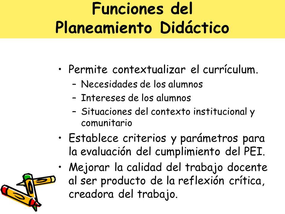 Funciones del Planeamiento Didáctico Permite contextualizar el currículum. –Necesidades de los alumnos –Intereses de los alumnos –Situaciones del cont