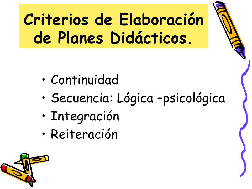 Criterios de Elaboración de Planes Didácticos. Continuidad Secuencia: Lógica –psicológica Integración Reiteración