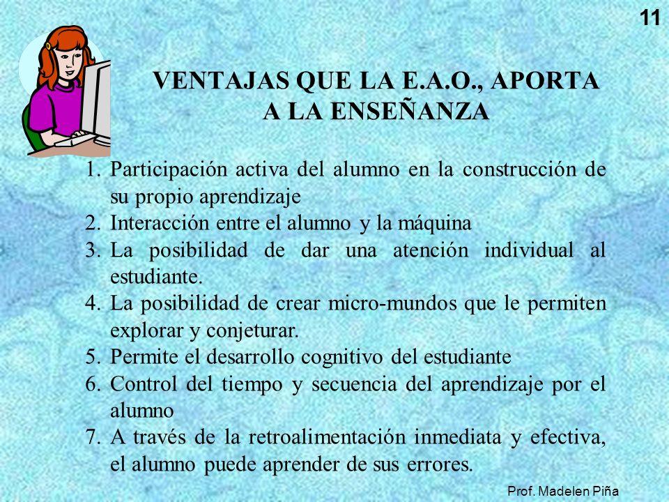 Prof. Madelen Piña 11 VENTAJAS QUE LA E.A.O., APORTA A LA ENSEÑANZA 1.Participación activa del alumno en la construcción de su propio aprendizaje 2.In