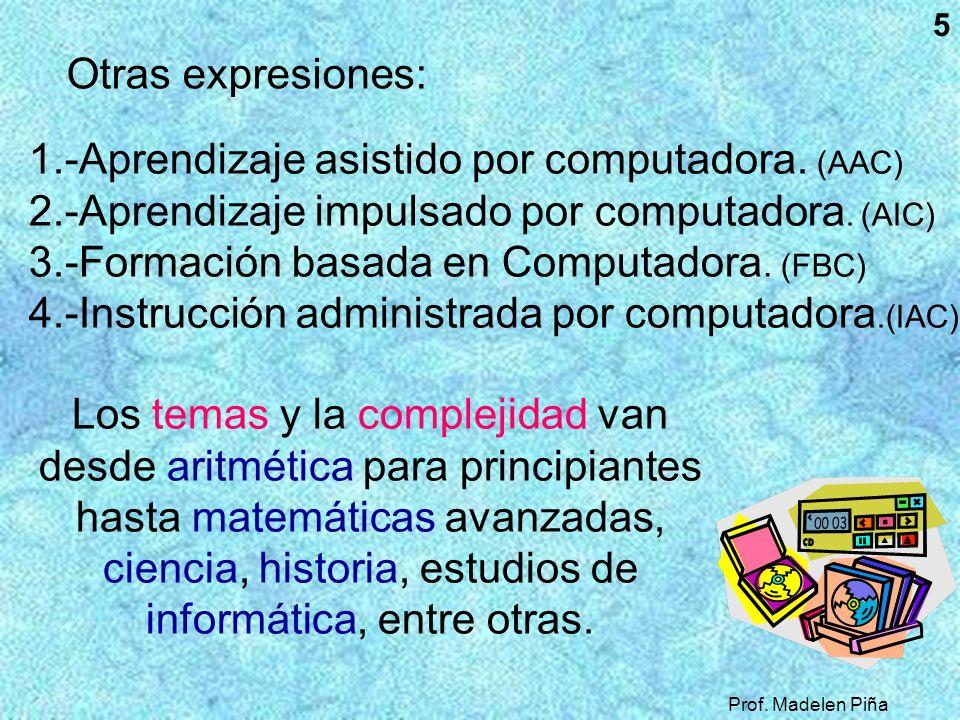 Prof. Madelen Piña 5 1.-Aprendizaje asistido por computadora. (AAC) 2.-Aprendizaje impulsado por computadora. (AIC) 3.-Formación basada en Computadora