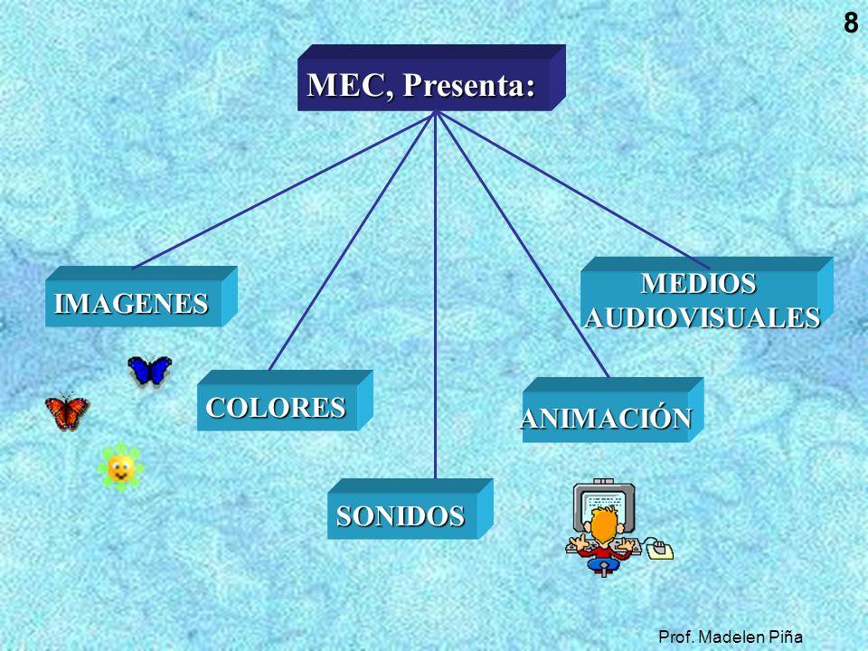 8 MEC, Presenta: MEC, Presenta: IMAGENES COLORES SONIDOS ANIMACIÓN MEDIOS AUDIOVISUALES AUDIOVISUALES