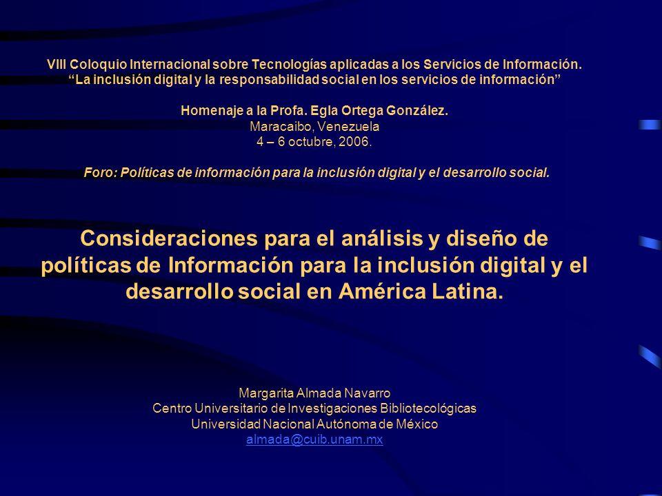 VIII Coloquio Internacional sobre Tecnologías aplicadas a los Servicios de Información. La inclusión digital y la responsabilidad social en los servic