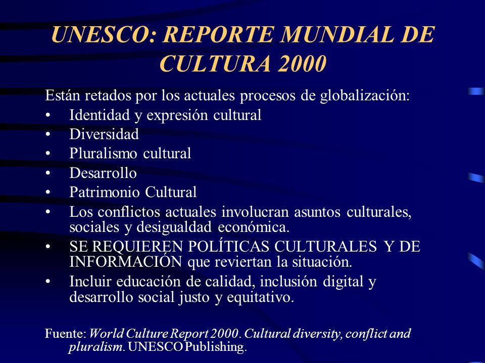 UNESCO: REPORTE MUNDIAL DE CULTURA 2000 Están retados por los actuales procesos de globalización: Identidad y expresión cultural Diversidad Pluralismo