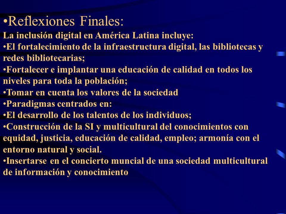 Reflexiones Finales: La inclusión digital en América Latina incluye: El fortalecimiento de la infraestructura digital, las bibliotecas y redes bibliot