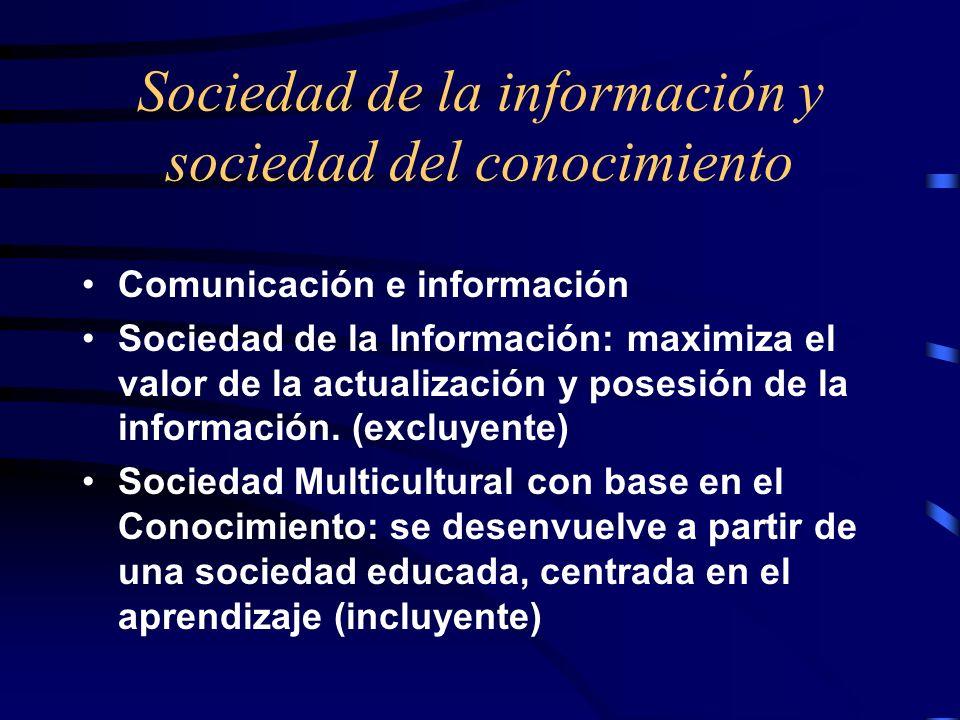 Sociedad de la información y sociedad del conocimiento Comunicación e información Sociedad de la Información: maximiza el valor de la actualización y