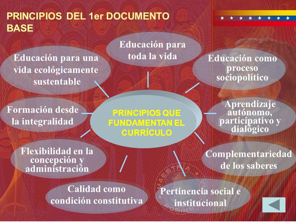 Educación como proceso sociopolítico Educación para una vida ecológicamente sustentable Flexibilidad en la concepción y administración Formación desde