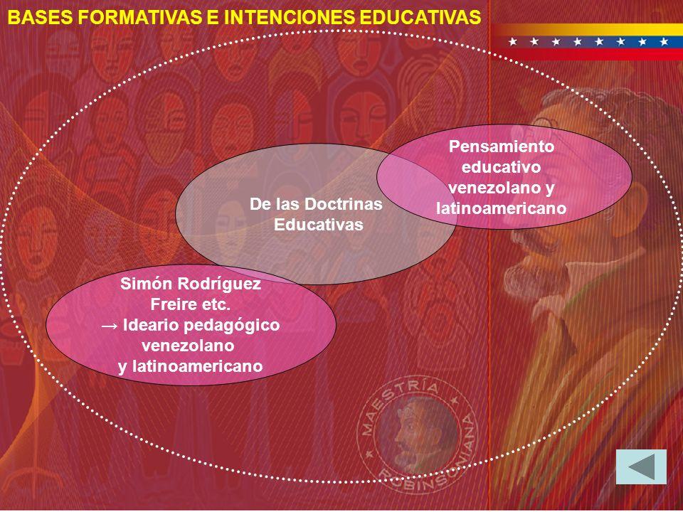 BASES FORMATIVAS E INTENCIONES EDUCATIVAS De las Doctrinas Educativas Pensamiento educativo venezolano y latinoamericano Simón Rodríguez Freire etc. I
