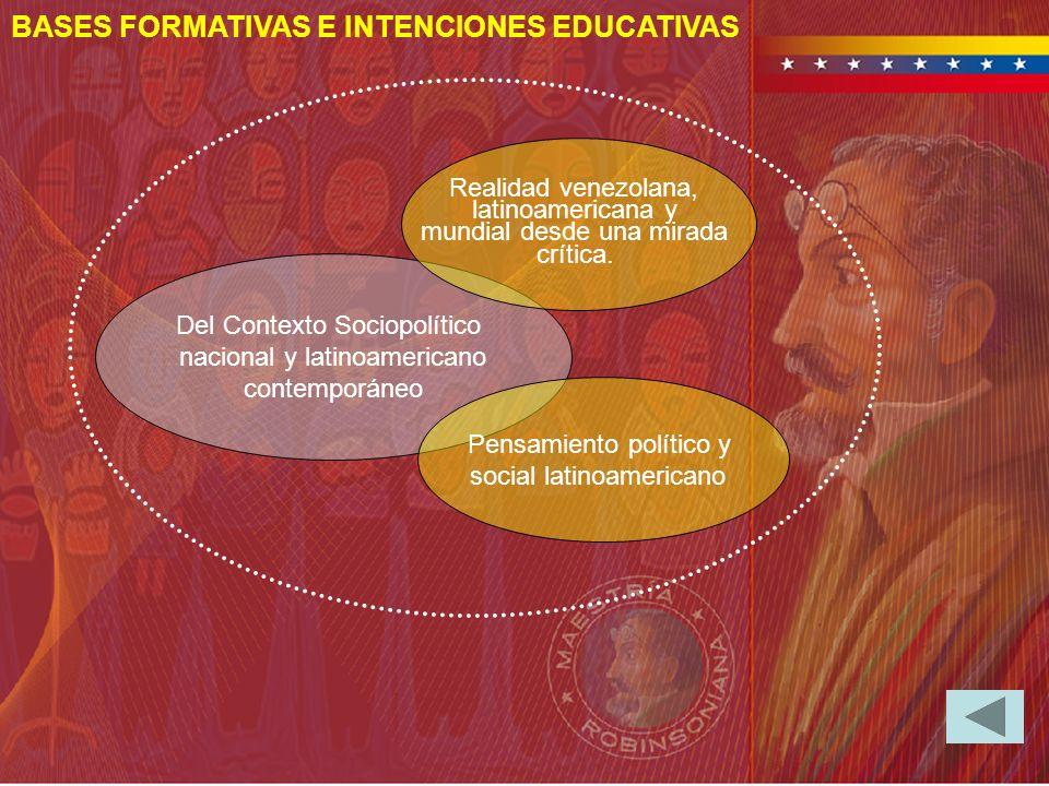 BASES FORMATIVAS E INTENCIONES EDUCATIVAS Del Contexto Sociopolítico nacional y latinoamericano contemporáneo Realidad venezolana, latinoamericana y m