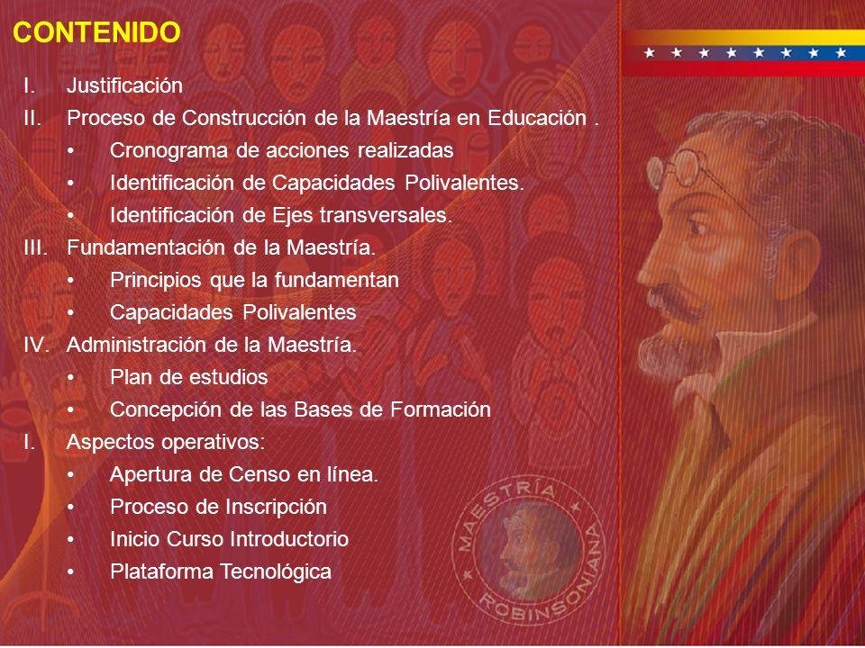 CONTENIDO I.Justificación II.Proceso de Construcción de la Maestría en Educación. Cronograma de acciones realizadas Identificación de Capacidades Poli