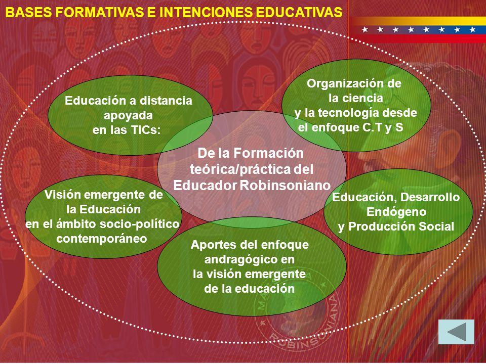 BASES FORMATIVAS E INTENCIONES EDUCATIVAS De la Formación teórica/práctica del Educador Robinsoniano Visión emergente de la Educación en el ámbito soc