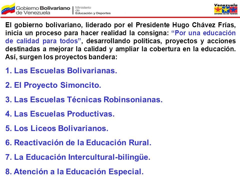 El gobierno bolivariano, liderado por el Presidente Hugo Chávez Frías, inicia un proceso para hacer realidad la consigna: Por una educación de calidad