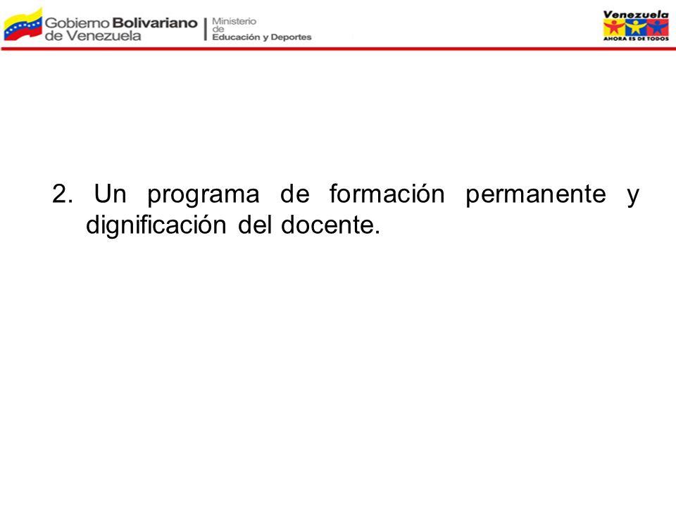 2. Un programa de formación permanente y dignificación del docente.