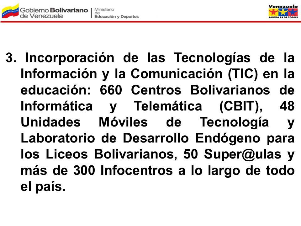 3. Incorporación de las Tecnologías de la Información y la Comunicación (TIC) en la educación: 660 Centros Bolivarianos de Informática y Telemática (C