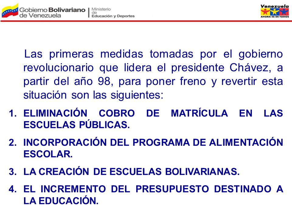 Las primeras medidas tomadas por el gobierno revolucionario que lidera el presidente Chávez, a partir del año 98, para poner freno y revertir esta sit