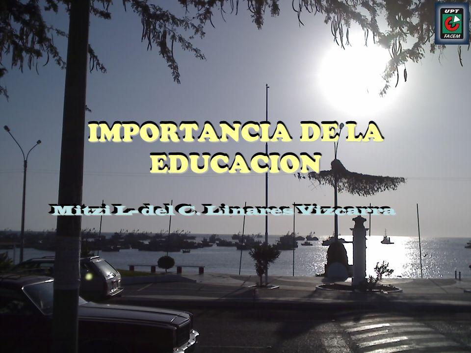 IMPORTANCIA DE LA EDUCACION Mitzi L- del C. Linares Vizcarra Mitzi L- del C. Linares Vizcarra