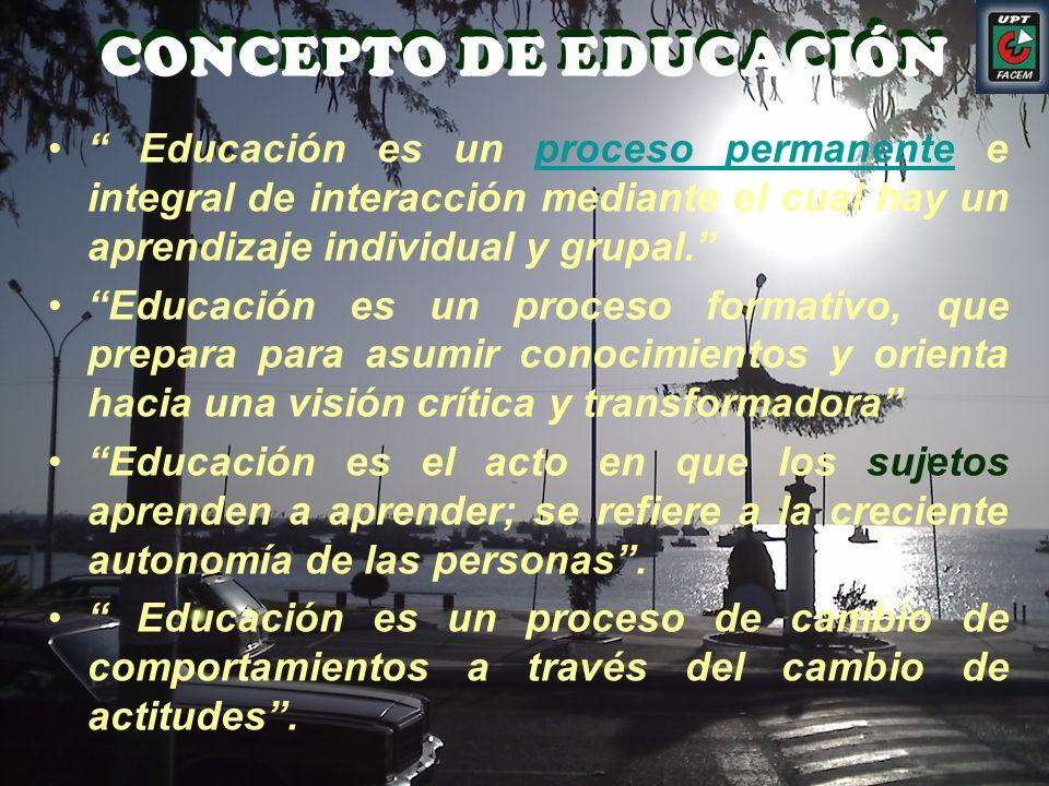 CONCEPTO DE EDUCACIÓN Educación es un proceso permanente e integral de interacción mediante el cual hay un aprendizaje individual y grupal.proceso per
