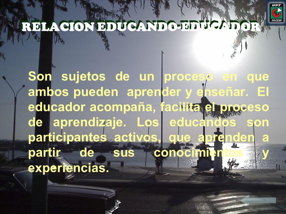 RELACION EDUCANDO-EDUCADOR RELACION EDUCANDO-EDUCADOR Son sujetos de un proceso en que ambos pueden aprender y enseñar. El educador acompaña, facilita