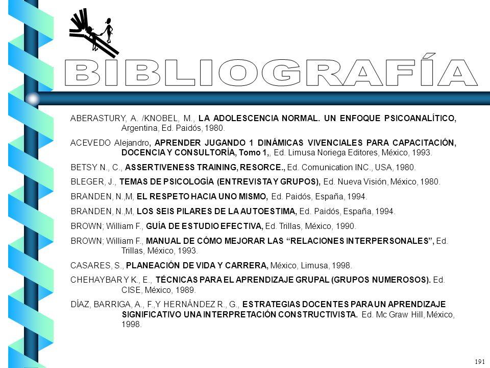 ABERASTURY, A. /KNOBEL, M., LA ADOLESCENCIA NORMAL. UN ENFOQUE PSICOANALÍTICO, Argentina, Ed. Paidós, 1980. ACEVEDO Alejandro, APRENDER JUGANDO 1 DINÁ