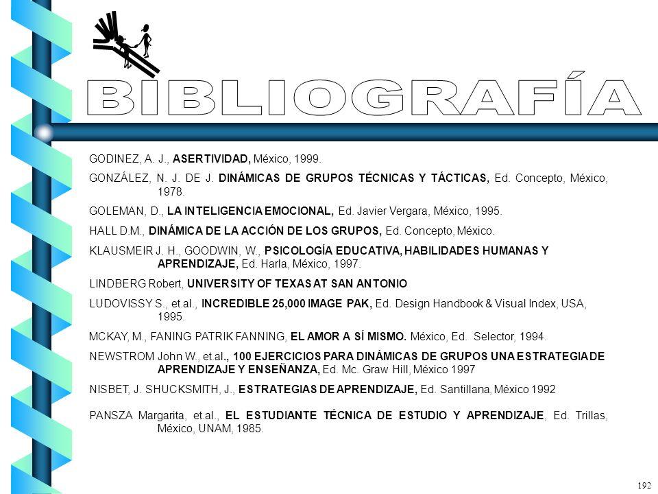GODINEZ, A. J., ASERTIVIDAD, México, 1999. GONZÁLEZ, N. J. DE J. DINÁMICAS DE GRUPOS TÉCNICAS Y TÁCTICAS, Ed. Concepto, México, 1978. GOLEMAN, D., LA