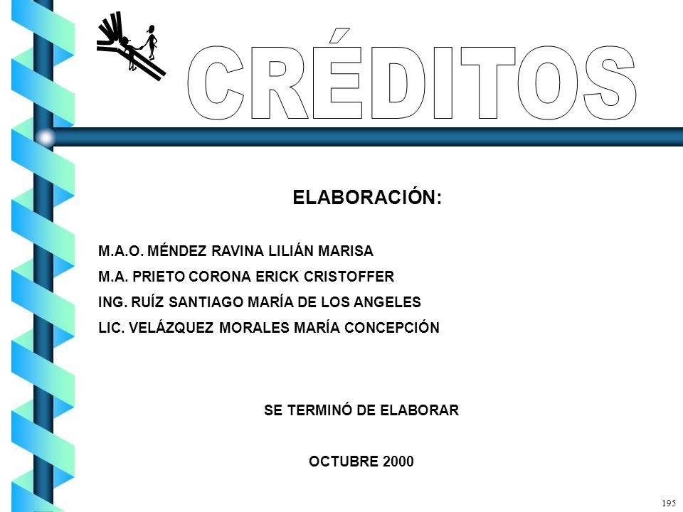 ELABORACIÓN: M.A.O. MÉNDEZ RAVINA LILIÁN MARISA M.A. PRIETO CORONA ERICK CRISTOFFER ING. RUÍZ SANTIAGO MARÍA DE LOS ANGELES LIC. VELÁZQUEZ MORALES MAR
