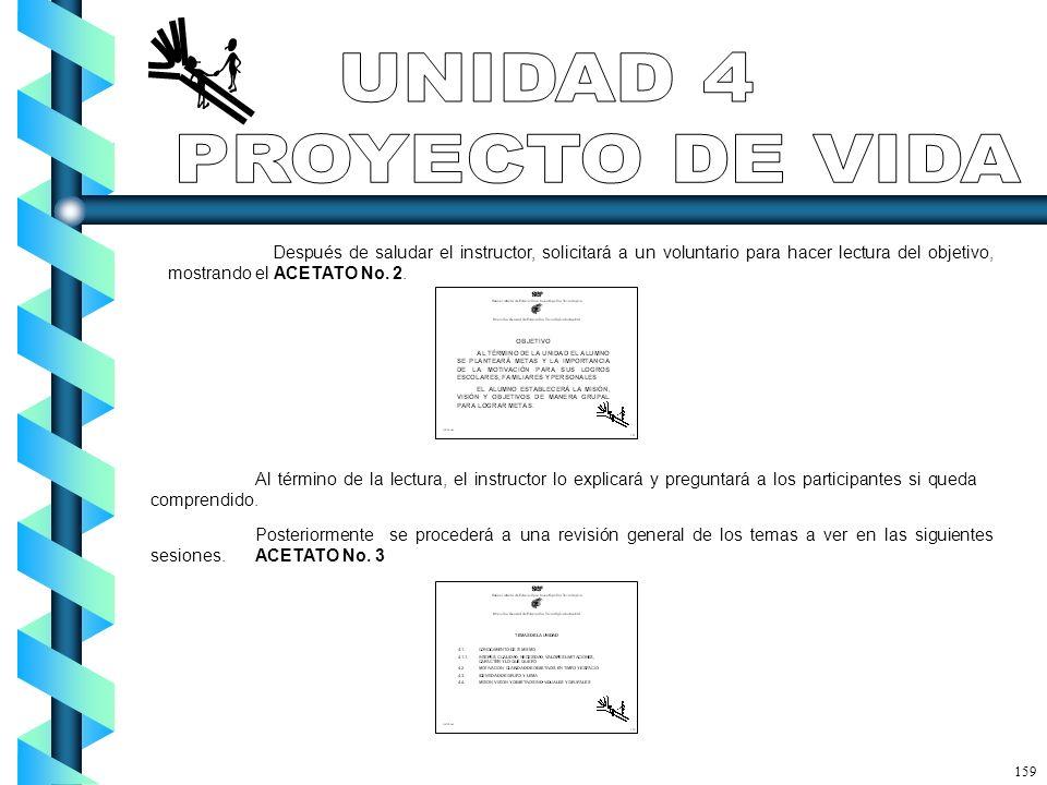 Después de saludar el instructor, solicitará a un voluntario para hacer lectura del objetivo, mostrando el ACETATO No. 2. Al término de la lectura, el