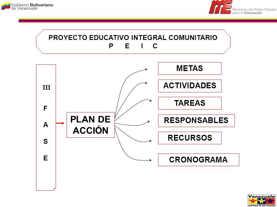 PROYECTO EDUCATIVO INTEGRAL COMUNITARIO P E I C F A S EF A S E PLAN DE ACCIÓN METAS TAREAS ACTIVIDADES CRONOGRAMA RESPONSABLES RECURSOS III