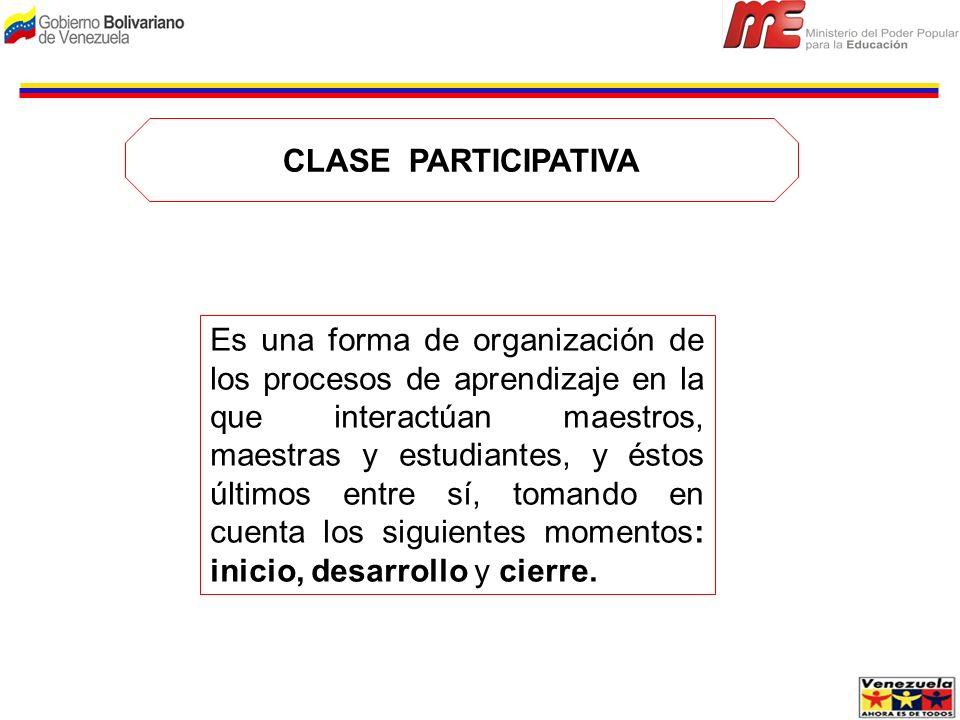 CLASE PARTICIPATIVA Es una forma de organización de los procesos de aprendizaje en la que interactúan maestros, maestras y estudiantes, y éstos último