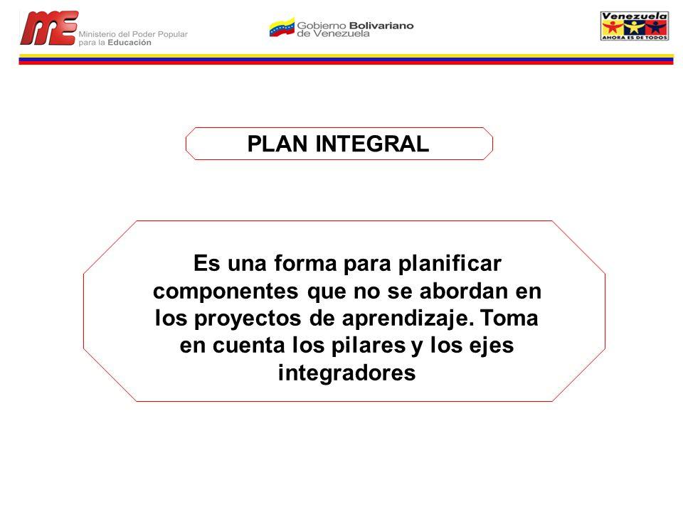 PLAN INTEGRAL Es una forma para planificar componentes que no se abordan en los proyectos de aprendizaje. Toma en cuenta los pilares y los ejes integr
