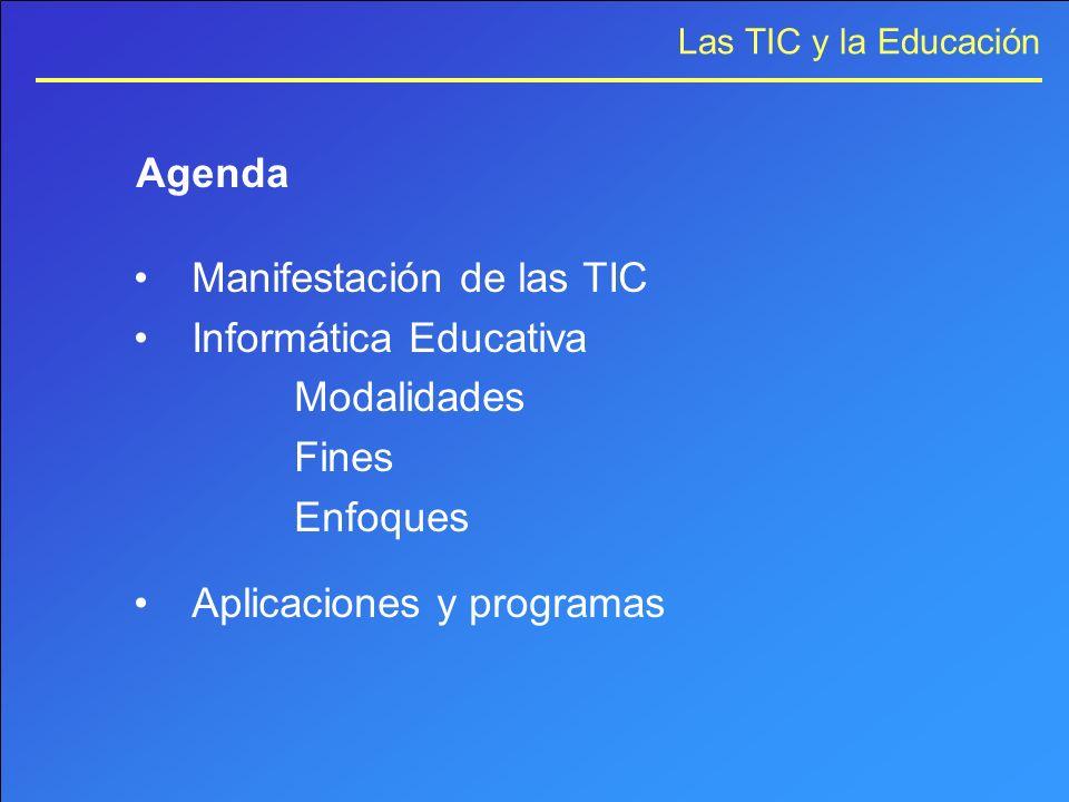 Las TIC y la Educación Agenda Manifestación de las TIC Informática Educativa Modalidades Fines Enfoques Aplicaciones y programas