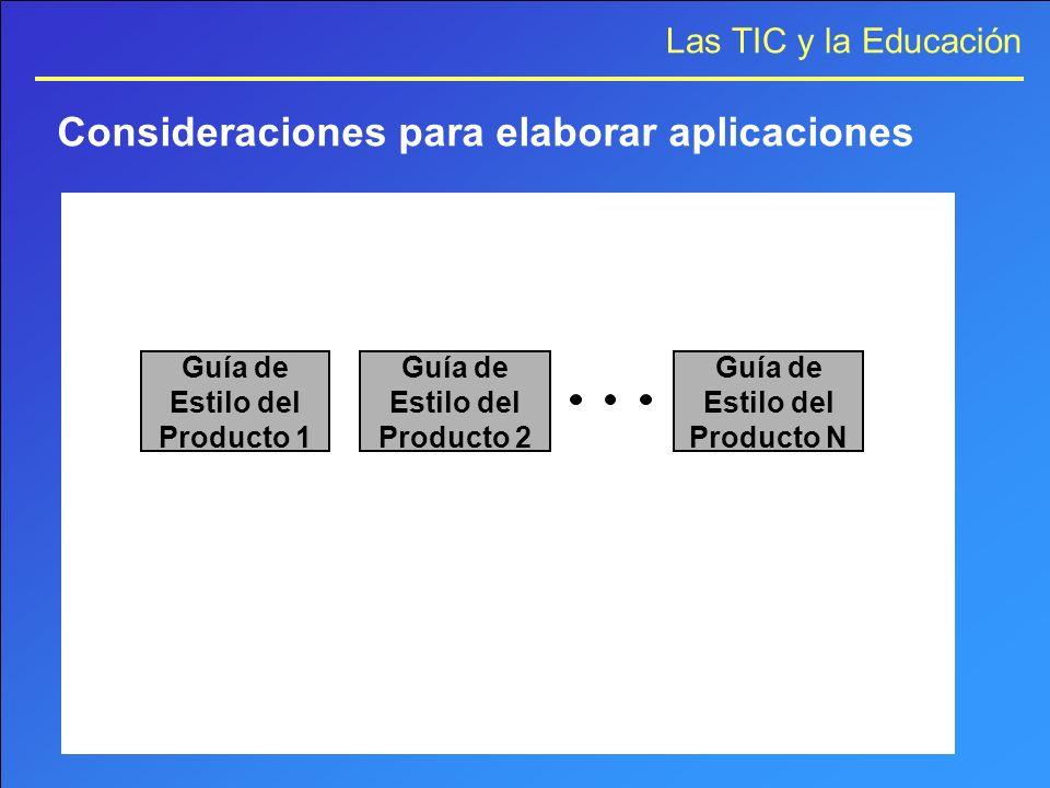 Las TIC y la Educación Consideraciones para elaborar aplicaciones Guía de Estilo del Producto 1 Guía de Estilo del Producto 2 Guía de Estilo del Produ