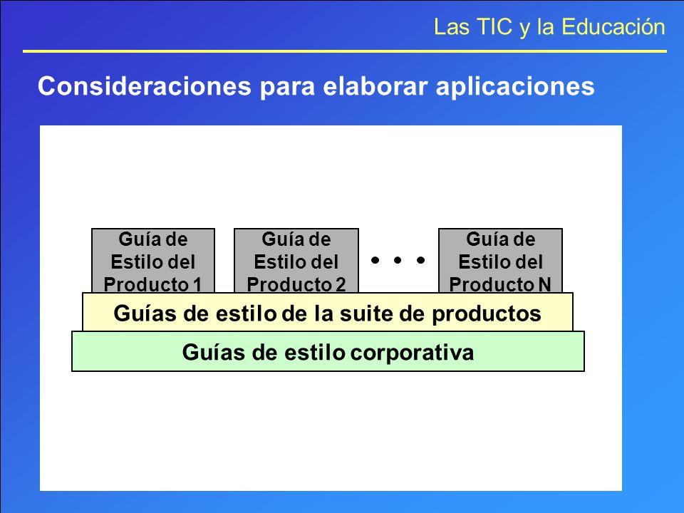 Las TIC y la Educación Guía de Estilo del Producto 1 Guía de Estilo del Producto 2 Guía de Estilo del Producto N Guías de estilo de la suite de produc