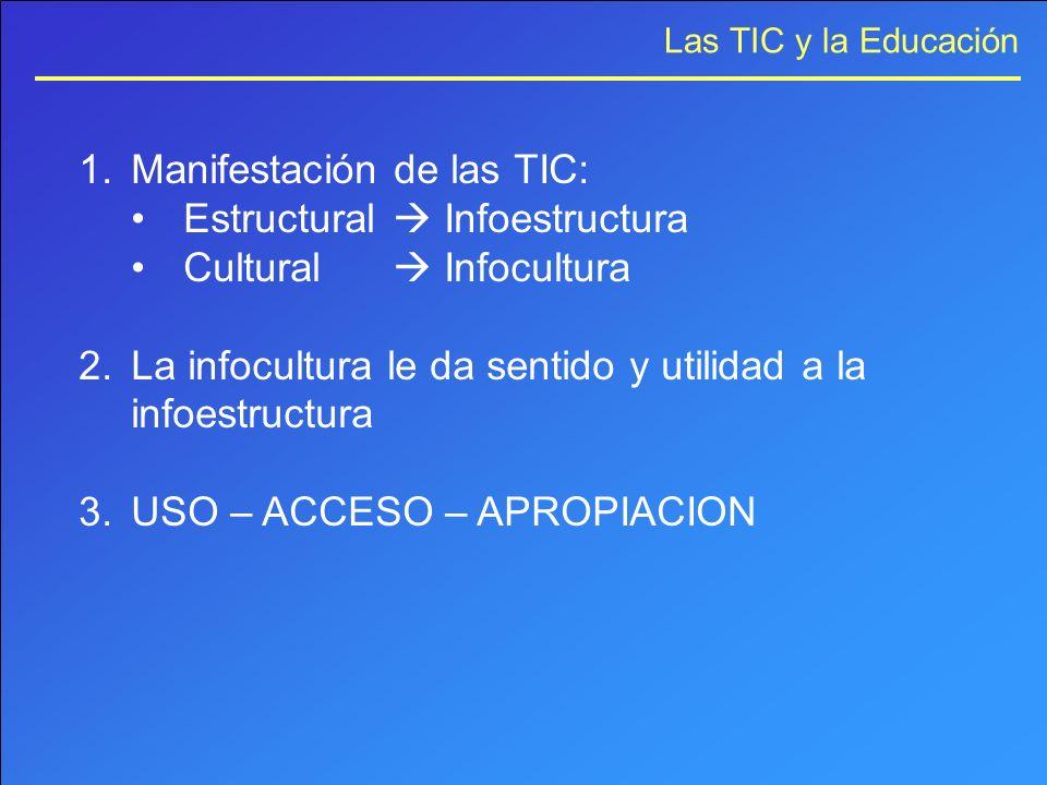 Las TIC y la Educación 1.Manifestación de las TIC: Estructural Infoestructura Cultural Infocultura 2.La infocultura le da sentido y utilidad a la info